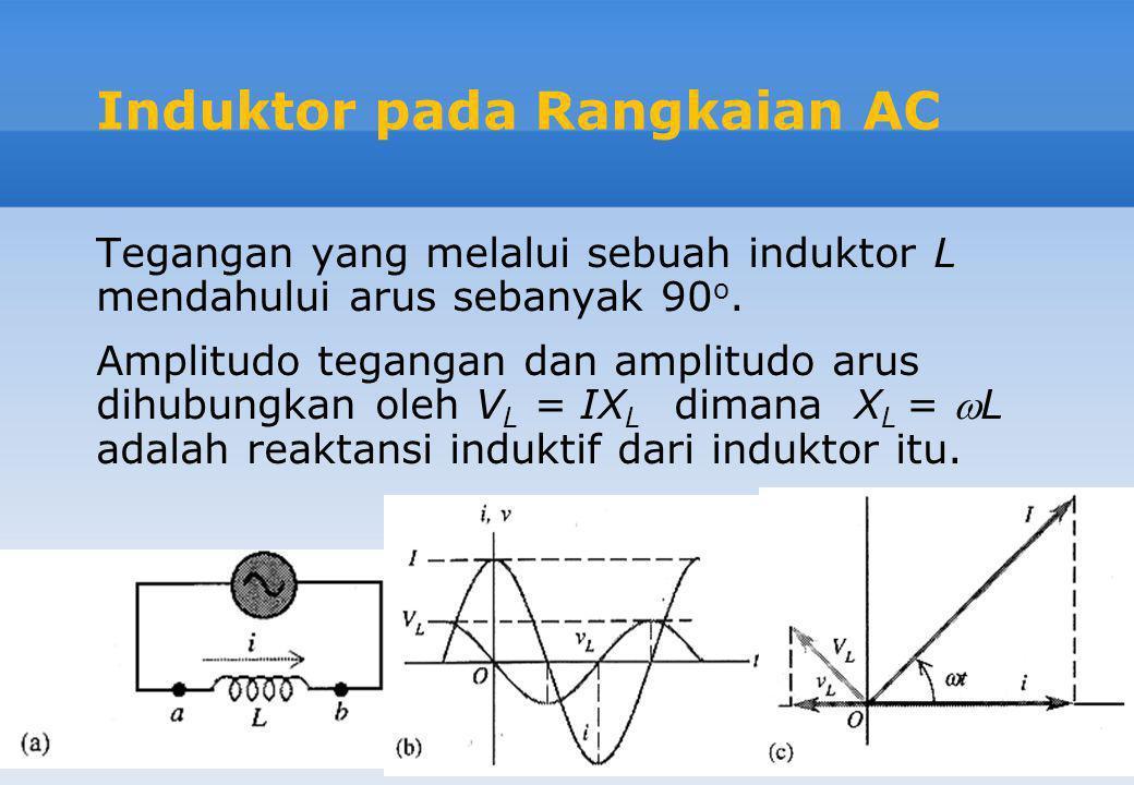 Induktor pada Rangkaian AC Tegangan yang melalui sebuah induktor L mendahului arus sebanyak 90 o. Amplitudo tegangan dan amplitudo arus dihubungkan ol