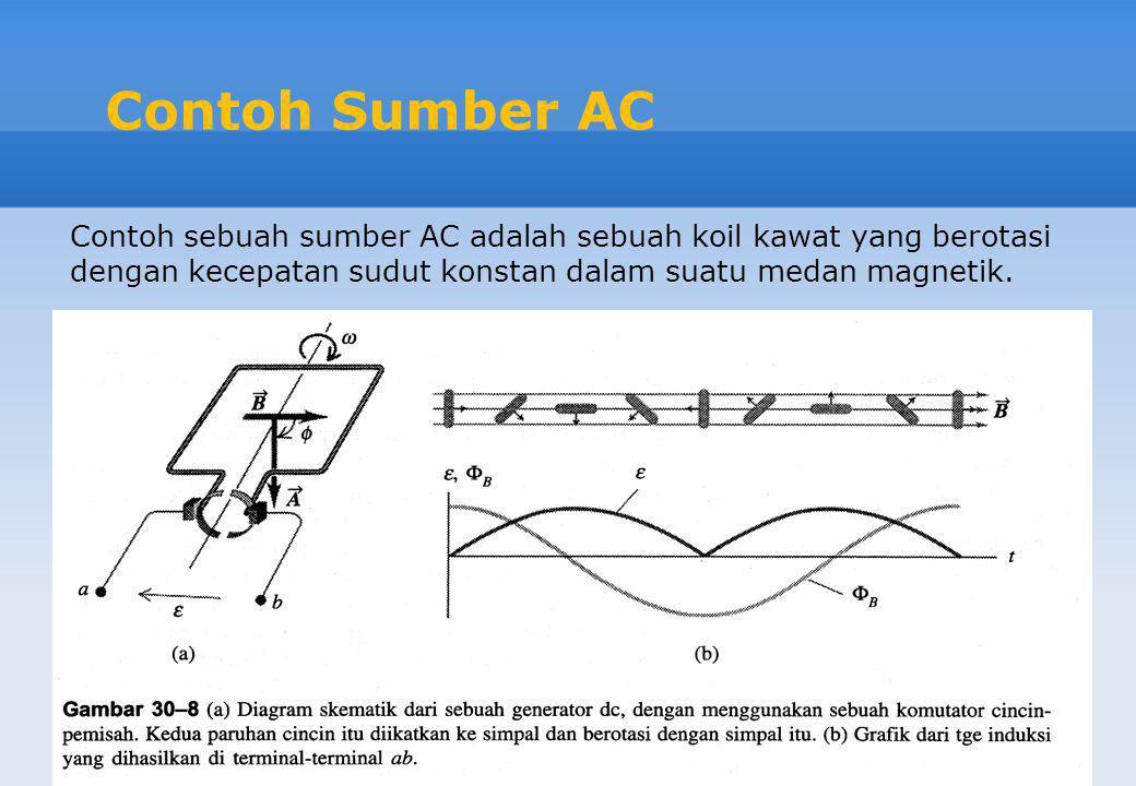 Contoh Sumber AC Contoh sebuah sumber AC adalah sebuah koil kawat yang berotasi dengan kecepatan sudut konstan dalam suatu medan magnetik.