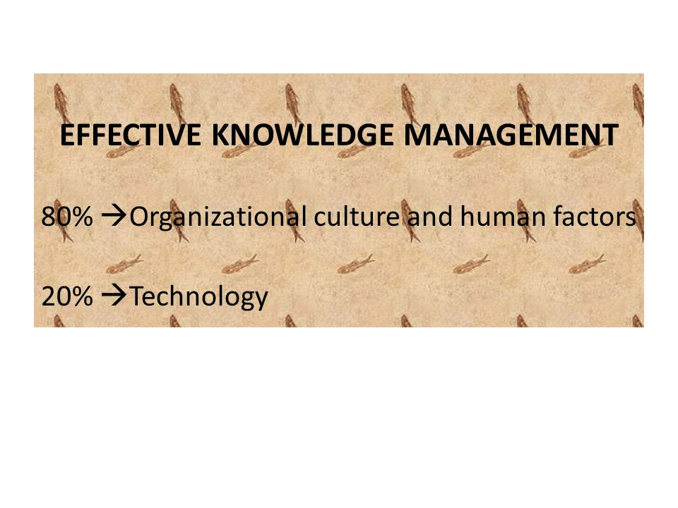 EFFECTIVE KNOWLEDGE MANAGEMENT 80%  Organizational culture and human factors 20%  Technology
