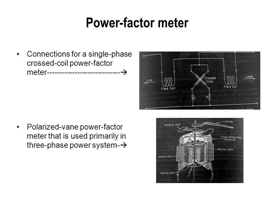 Power-factor meter Connections for a single-phase crossed-coil power-factor meter-----------------------------  Polarized-vane power-factor meter tha