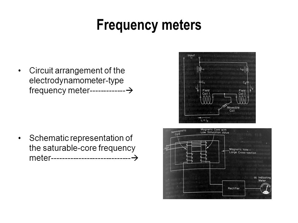 Frequency meters Circuit arrangement of the electrodynamometer-type frequency meter-------------  Schematic representation of the saturable-core freq