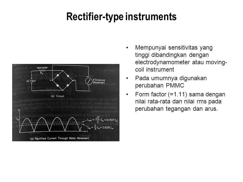 Rectifier-type instruments Mempunyai sensitivitas yang tinggi dibandingkan dengan electrodynamometer atau moving- coil instrument Pada umumnya digunak