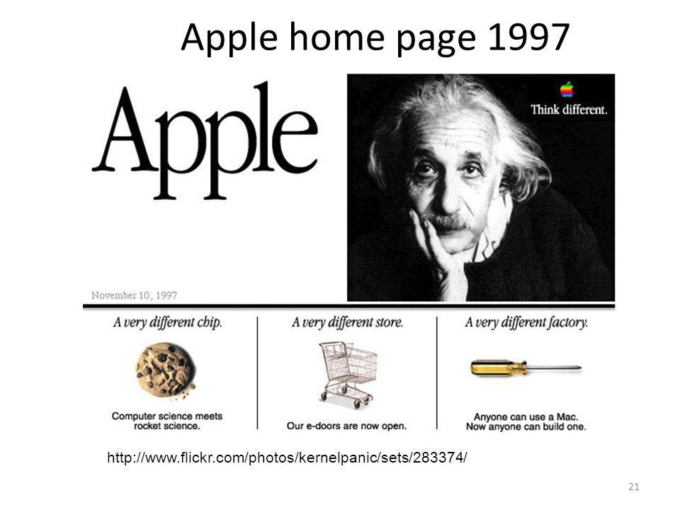 21 Apple home page 1997 http://www.flickr.com/photos/kernelpanic/sets/283374/