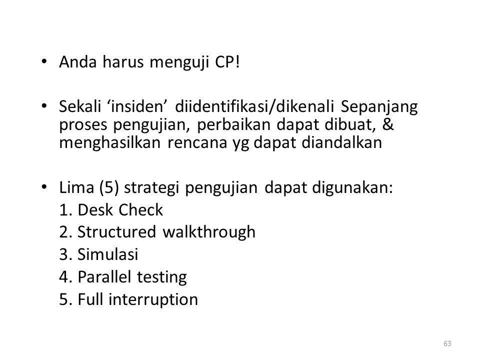 63 Anda harus menguji CP! Sekali 'insiden' diidentifikasi/dikenali Sepanjang proses pengujian, perbaikan dapat dibuat, & menghasilkan rencana yg dapat