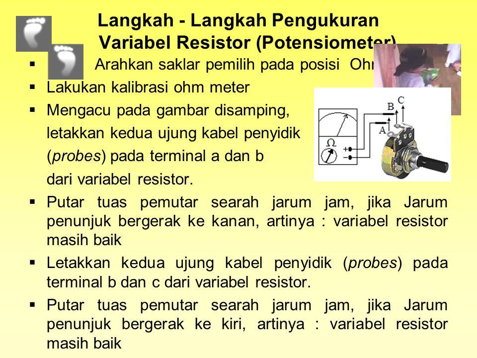 Teknik penggunaan Ohm meter untuk berbagai komponen elektronika 1.Mengukur Resistor 2.Mengukur Variabel Resistor 3.Mengukur Resistor Peka Cahaya/Light