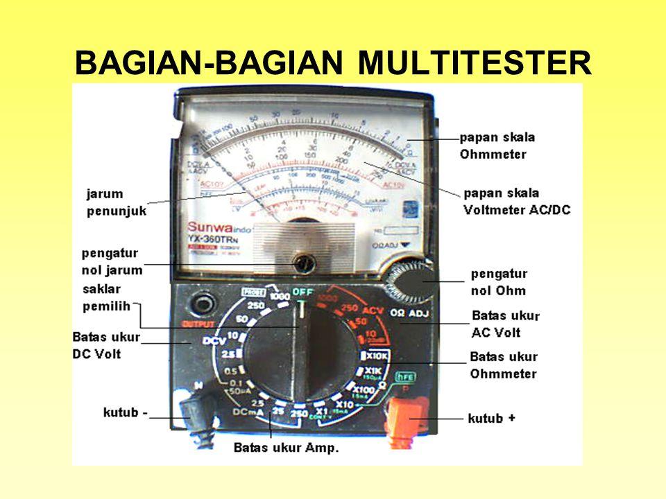 AMPERE METER VOLT METER OHM METER SKEMA FUNGSI Pengukuran Arus listrik DC Mis: arus listrik pada lampu led Pengukuran Tegangan listrik 1.