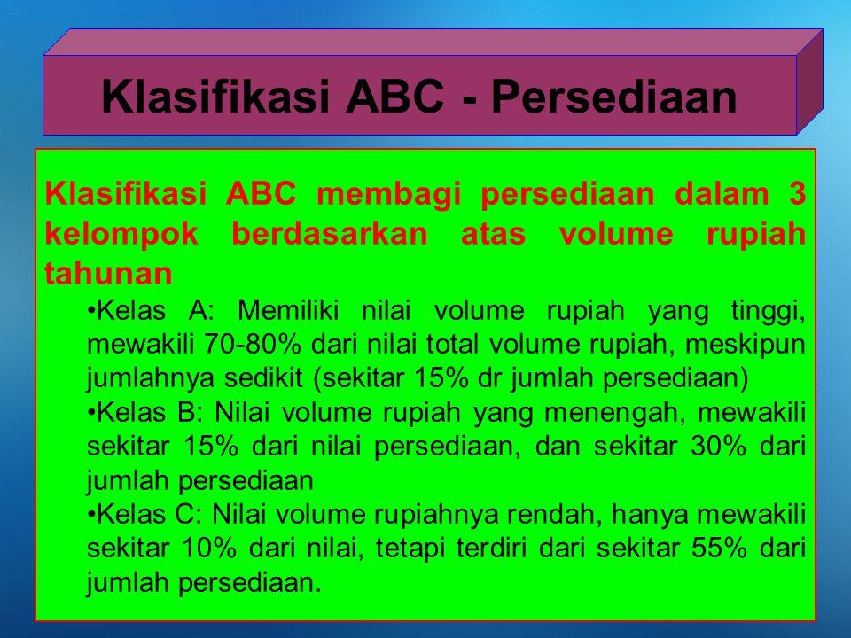 Klasifikasi ABC membagi persediaan dalam 3 kelompok berdasarkan atas volume rupiah tahunan Kelas A: Memiliki nilai volume rupiah yang tinggi, mewakili