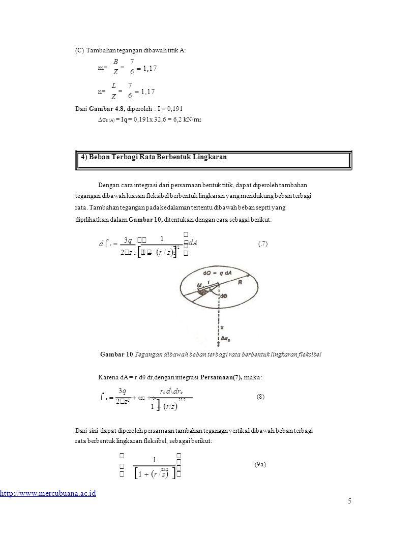   dA  (C) Tambahan tegangan dibawah titik A: m= n= BZBZ L Z = = 7676 7676  1,17 Dari Gambar 4.8, diperoleh : I = 0,191 ∆σ z (A) = Iq = 0,191x 32,6 = 6,2 kN/m 2 4) Beban Terbagi Rata Berbentuk Lingkaran Dengan cara integrasi dari persamaan bentuk titik, dapat diperoleh tambahan tegangan dibawah luasan fleksibel berbentuk lingkaran yang mendukung beban terbagi rata.
