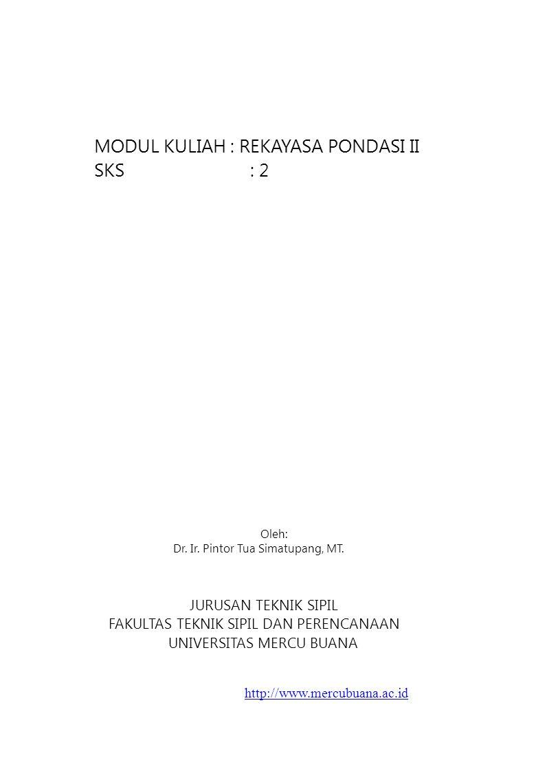 MODUL KULIAH : REKAYASA PONDASI II SKS : 2 Oleh: Dr. Ir. Pintor Tua Simatupang, MT. JURUSAN TEKNIK SIPIL FAKULTAS TEKNIK SIPIL DAN PERENCANAAN UNIVERS