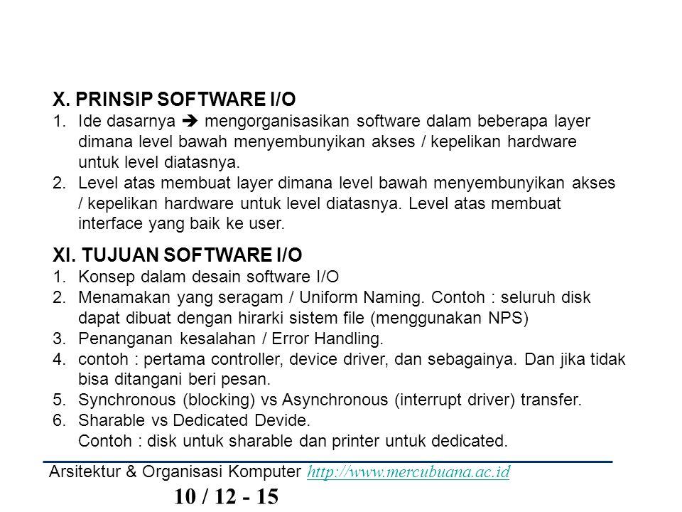 Arsitektur & Organisasi Komputer http://www.mercubuana.ac.id 10 / 12 - 15 http://www.mercubuana.ac.id X. PRINSIP SOFTWARE I/O 1.Ide dasarnya  mengorg