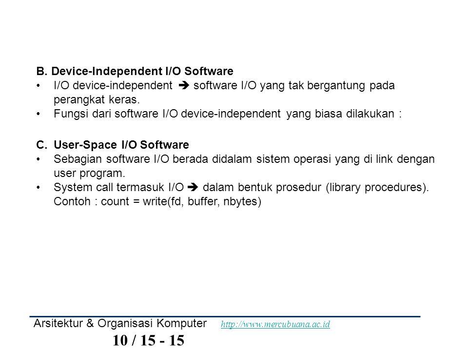 Arsitektur & Organisasi Komputer http://www.mercubuana.ac.id 10 / 15 - 15 http://www.mercubuana.ac.id B. Device-Independent I/O Software I/O device-in