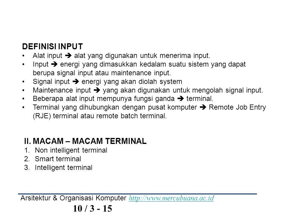 Arsitektur & Organisasi Komputer http://www.mercubuana.ac.id 10 / 3 - 15 http://www.mercubuana.ac.id DEFINISI INPUT Alat input  alat yang digunakan u