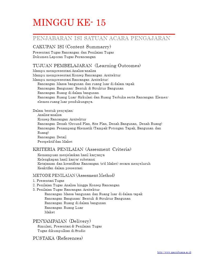 MINGGU KE- 15 PENJABARAN ISI SATUAN ACARA PENGAJARAN CAKUPAN ISI ( Content Summarry ) Presentasi Tugas Rancangan dan Penilaian Tugas Dokumen Laporan T