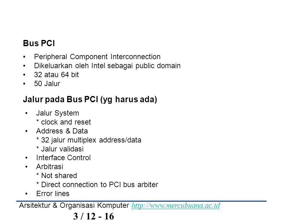 Arsitektur & Organisasi Komputer http://www.mercubuana.ac.id 3 / 12 - 16 http://www.mercubuana.ac.id Bus PCI Peripheral Component Interconnection Dikeluarkan oleh Intel sebagai public domain 32 atau 64 bit 50 Jalur Jalur pada Bus PCI (yg harus ada) Jalur System * clock and reset Address & Data * 32 jalur multiplex address/data * Jalur validasi Interface Control Arbitrasi * Not shared * Direct connection to PCI bus arbiter Error lines