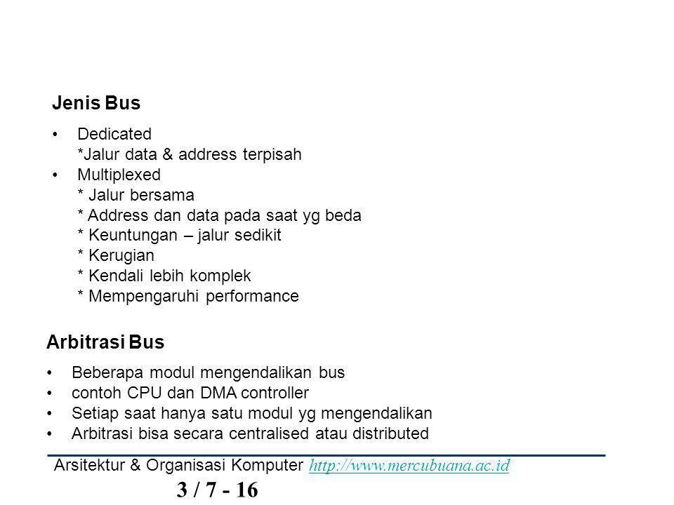 Arsitektur & Organisasi Komputer http://www.mercubuana.ac.id 3 / 8 - 16 http://www.mercubuana.ac.id Arbitrasi Centralised Ada satu hardware device yg mengendalikan akses bus * Bus Controller * Arbitrer Bisa berupa bagian dari CPU atau terpisah Arbitrasi Distributed Setiap module dapat meng-klaim bus Setiap modules memiliki Control logic