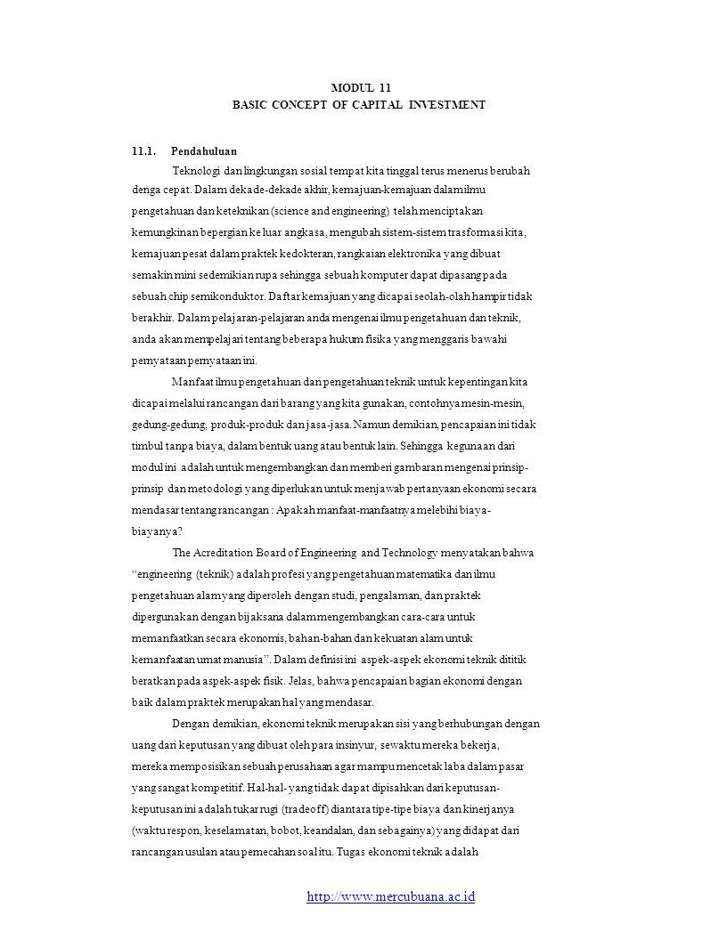 MODUL 11 BASIC CONCEPT OF CAPITAL INVESTMENT 11.1.Pendahuluan Teknologi dan lingkungan sosial tempat kita tinggal terus menerus berubah denga cepat. D