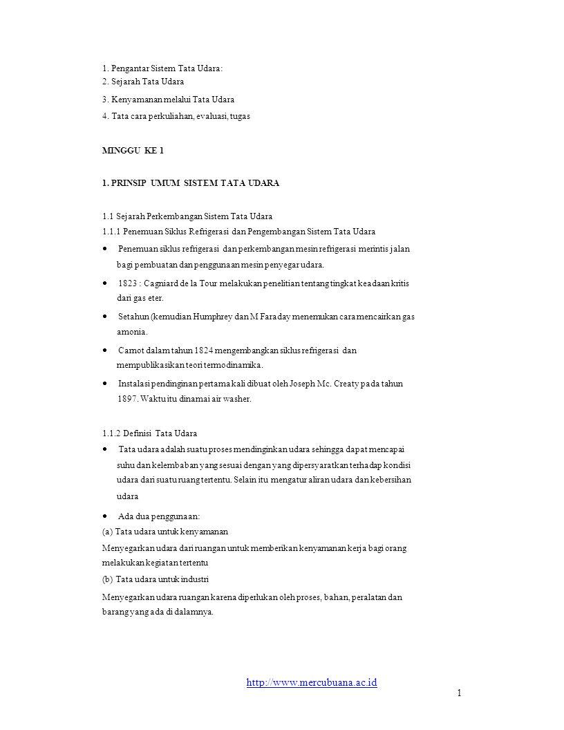 1. Pengantar Sistem Tata Udara: 2. Sejarah Tata Udara 3. Kenyamanan melalui Tata Udara 4. Tata cara perkuliahan, evaluasi, tugas MINGGU KE 1 1. PRINSI