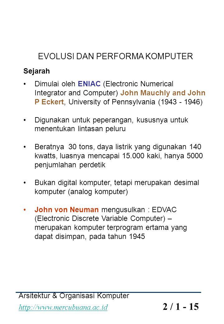 Arsitektur & Organisasi Komputer http://www.mercubuana.ac.id 2 / 12 - 15 http://www.mercubuana.ac.id Intel 1971 - 4004 * Microprocessor pertama, CPU dalam 1 chip, 4 bit 1972 - 8008 * 8 bit, Digunakan untuk aplikasi khusus 1974 - 8080 Microprocessor general purpose yang pertama dari Intel 1978 - 8086, 80286 1985 - 80386 1989 - 80486 Meningkatkan kecepatan Pipelining On board cache On board L1 & L2 cache Branch prediction Data flow analysis Speculative execution