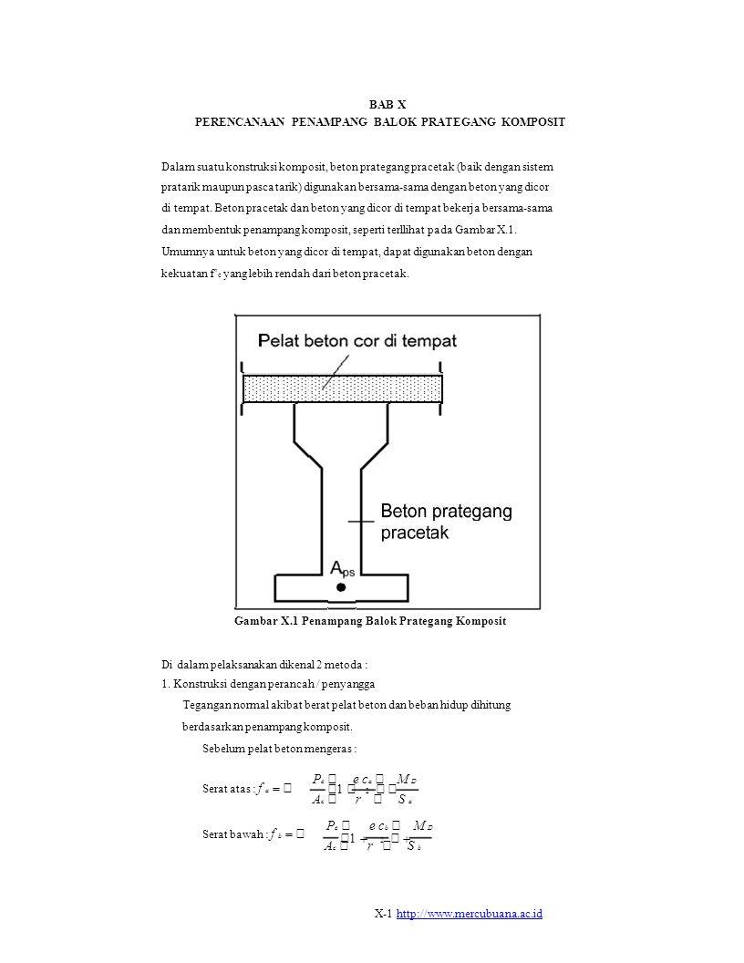  1    2      1  2   BAB X PERENCANAAN PENAMPANG BALOK PRATEGANG KOMPOSIT Dalam suatu konstruksi komposit, beton prategang pracetak (baik dengan sistem pratarik maupun pasca tarik) digunakan bersama-sama dengan beton yang dicor di tempat.