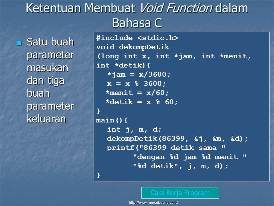 Ketentuan Membuat Void Function dalam Bahasa C Satu buah parameter masukan dan tiga buah parameter keluaran Satu buah parameter masukan dan tiga buah parameter keluaran #include void dekompDetik (long int x, int *jam, int *menit, int *detik){ *jam = x/3600; x = x % 3600; *menit = x/60; *detik = x % 60; } main(){ int j, m, d; dekompDetik(86399, &j, &m, &d); printf( 86399 detik sama dengan %d jam %d menit %d detik , j, m, d); } Cara Kerja Program http://www.mercubuana.ac.id