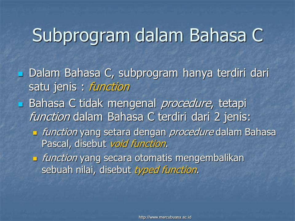 Subprogram dalam Bahasa C Dalam Bahasa C, subprogram hanya terdiri dari satu jenis : function Dalam Bahasa C, subprogram hanya terdiri dari satu jenis : function Bahasa C tidak mengenal procedure, tetapi function dalam Bahasa C terdiri dari 2 jenis: Bahasa C tidak mengenal procedure, tetapi function dalam Bahasa C terdiri dari 2 jenis: function yang setara dengan procedure dalam Bahasa Pascal, disebut void function.