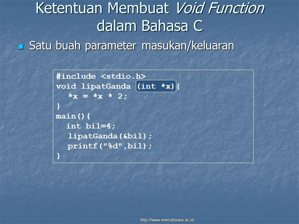 Ketentuan Membuat Void Function dalam Bahasa C Satu buah parameter masukan/keluaran Satu buah parameter masukan/keluaran #include void lipatGanda (int *x){ *x = *x * 2; } main(){ int bil=4; lipatGanda(&bil); printf( %d ,bil); } http://www.mercubuana.ac.id