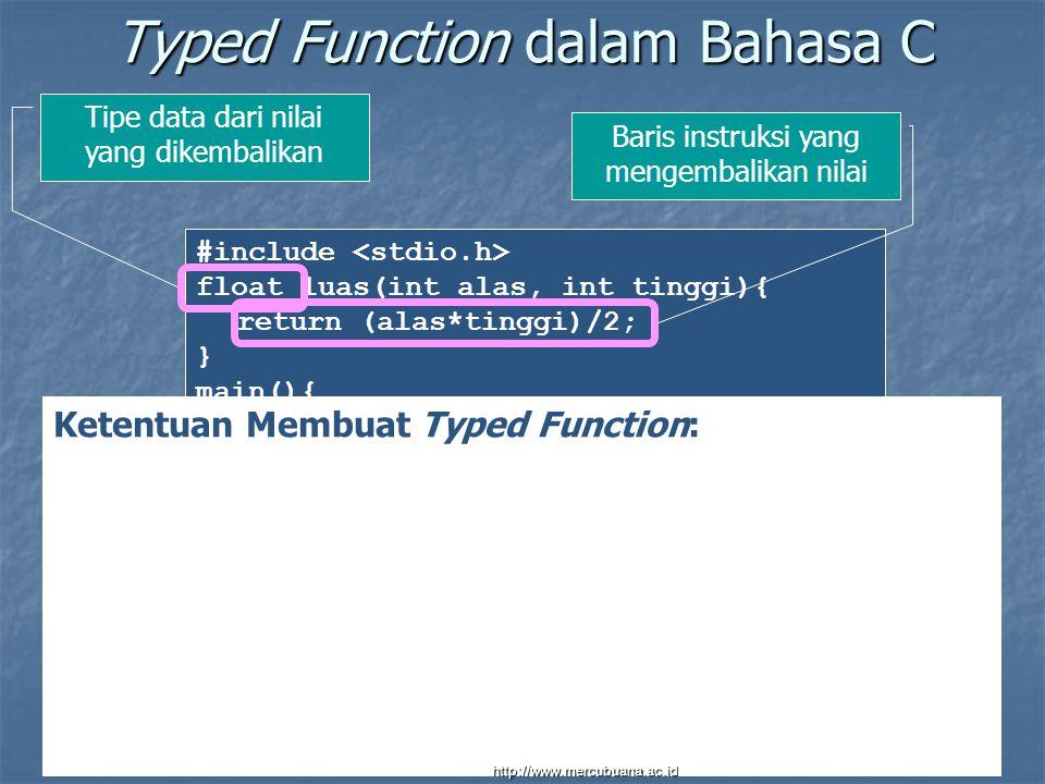 #include float luas(int alas, int tinggi){ return (alas*tinggi)/2; } main(){ int x,y; printf( Masukkan panjang alas segitiga: ); scanf( %d ,&x); printf( Masukkan tinggi segitiga: ); scanf( %d ,&y); printf( Luas segitiga adalah %d , luas(x,y)); } Typed Function dalam Bahasa C Ketentuan Membuat Typed Function: Sama dengan ketentuan membuat void function Ditambah : Typed function harus menyertakan tipe data dari nilai yang dikembalikan.