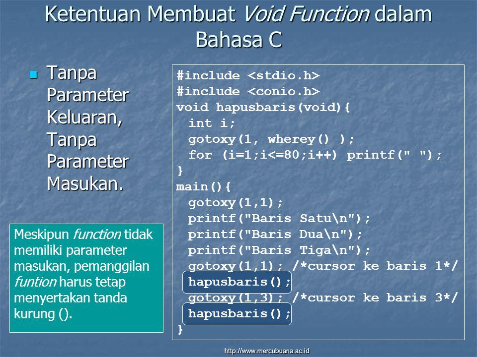 Ketentuan Membuat Void Function dalam Bahasa C Tanpa Parameter Keluaran, Tanpa Parameter Masukan.