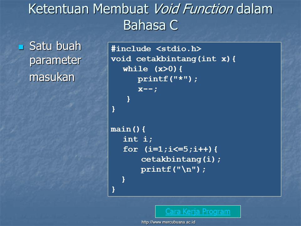 Ketentuan Membuat Void Function dalam Bahasa C Satu buah parameter Satu buah parameter masukan masukan #include void cetakbintang(int x){ while (x>0){ printf( * ); x--; } main(){ int i; for (i=1;i<=5;i++){ cetakbintang(i); printf( \n ); } Cara Kerja Program http://www.mercubuana.ac.id