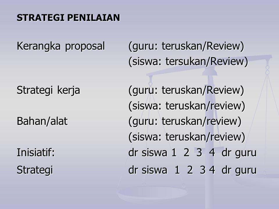 STRATEGI PENILAIAN Kerangka proposal (guru: teruskan/Review) (siswa: tersukan/Review) (siswa: tersukan/Review) Strategi kerja (guru: teruskan/Review)