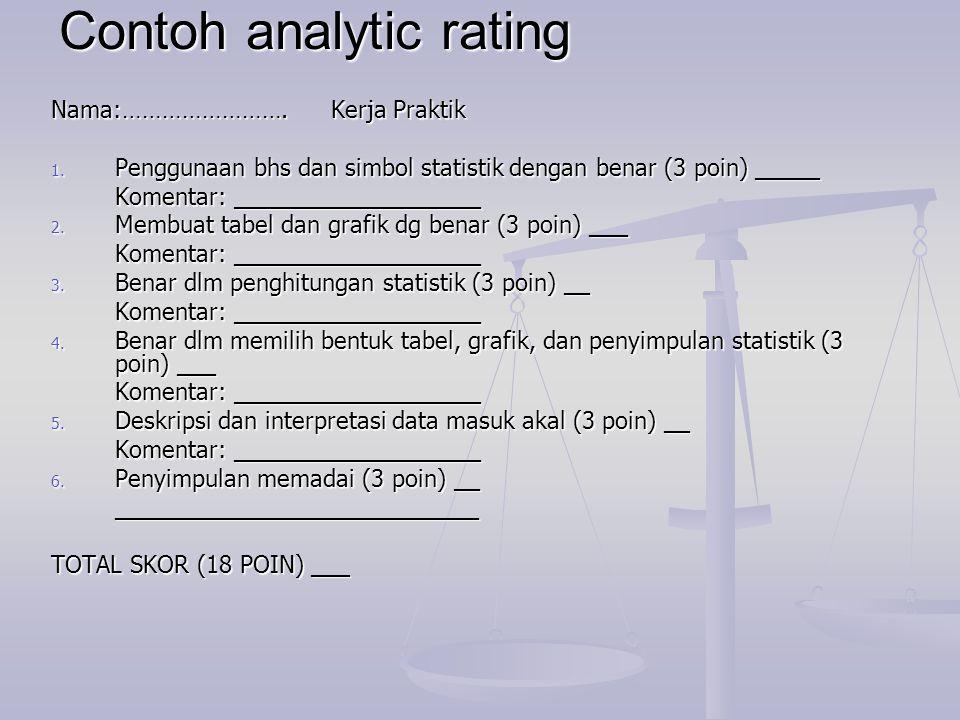 Contoh analytic rating Nama:……………………. Kerja Praktik 1. Penggunaan bhs dan simbol statistik dengan benar (3 poin) _____ Komentar: ___________________ 2