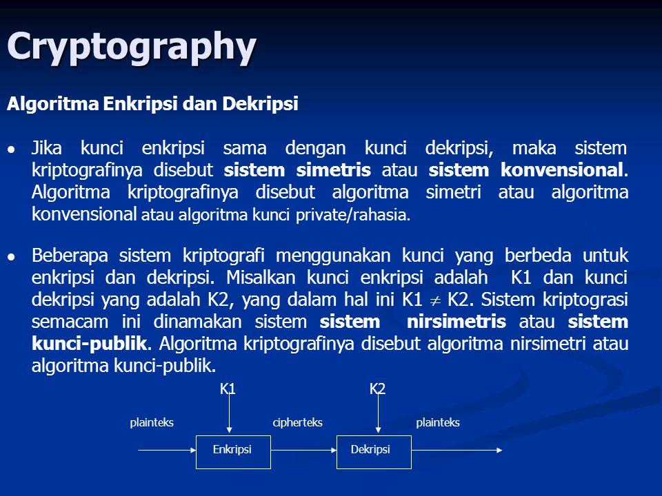 Cryptography Algoritma Enkripsi dan Dekripsi   Jika kunci enkripsi sama dengan kunci dekripsi, maka sistem kriptografinya disebut sistem simetris atau sistem konvensional.