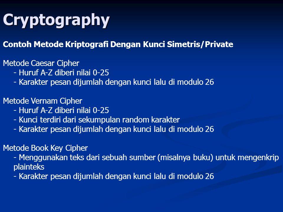 Cryptography Contoh Metode Kriptografi Dengan Kunci Simetris/Private Metode Caesar Cipher - Huruf A-Z diberi nilai 0-25 - Karakter pesan dijumlah dengan kunci lalu di modulo 26 Metode Vernam Cipher - Huruf A-Z diberi nilai 0-25 - Kunci terdiri dari sekumpulan random karakter - Karakter pesan dijumlah dengan kunci lalu di modulo 26 Metode Book Key Cipher - Menggunakan teks dari sebuah sumber (misalnya buku) untuk mengenkrip plainteks - Karakter pesan dijumlah dengan kunci lalu di modulo 26
