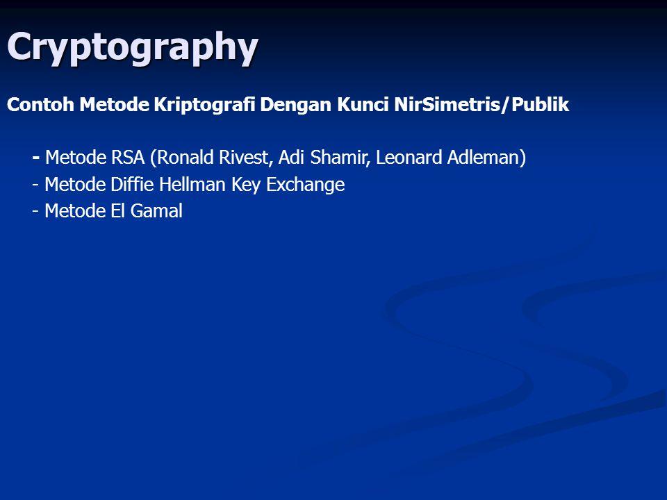 Cryptography Contoh Metode Kriptografi Dengan Kunci NirSimetris/Publik - Metode RSA (Ronald Rivest, Adi Shamir, Leonard Adleman) - Metode Diffie Hellm