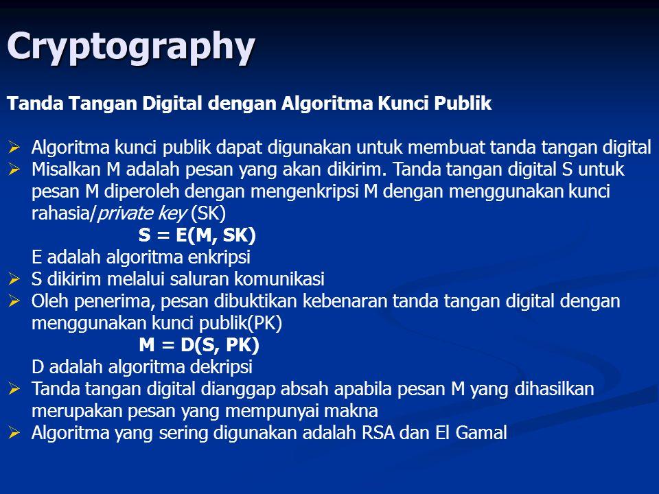 Cryptography Tanda Tangan Digital dengan Algoritma Kunci Publik   Algoritma kunci publik dapat digunakan untuk membuat tanda tangan digital   Misa