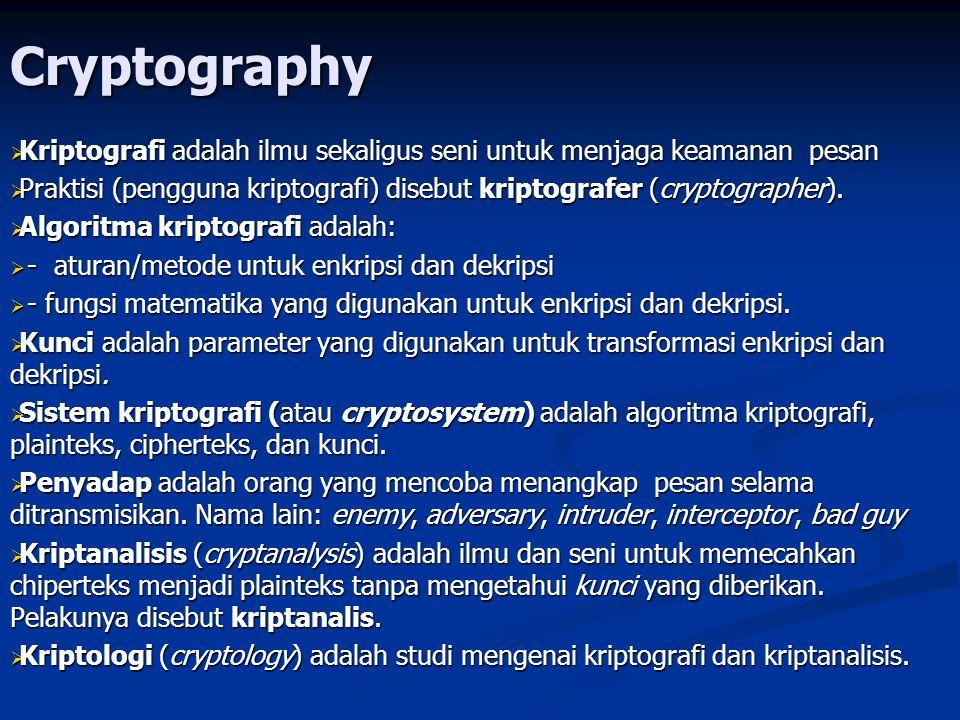 Cryptography Tanda Tangan Digital dengan Fungsi Hash   Dari pesan yang hendak dikirim, dibuatkan message digest(MD) dengan fungsi Hash MD = H(M)   MD dienkrip dengan algoritma kunci publik dengan kunci rahasia (SK) pengirim menjadi tanda tangan digital (S) S = E(MD, SK)   Pesan M digabung dengan tanda tangan digital (S), lalu dikirim melalui saluran komunikasi (seolah-olah M sudah ditandatangani oleh pengirim)