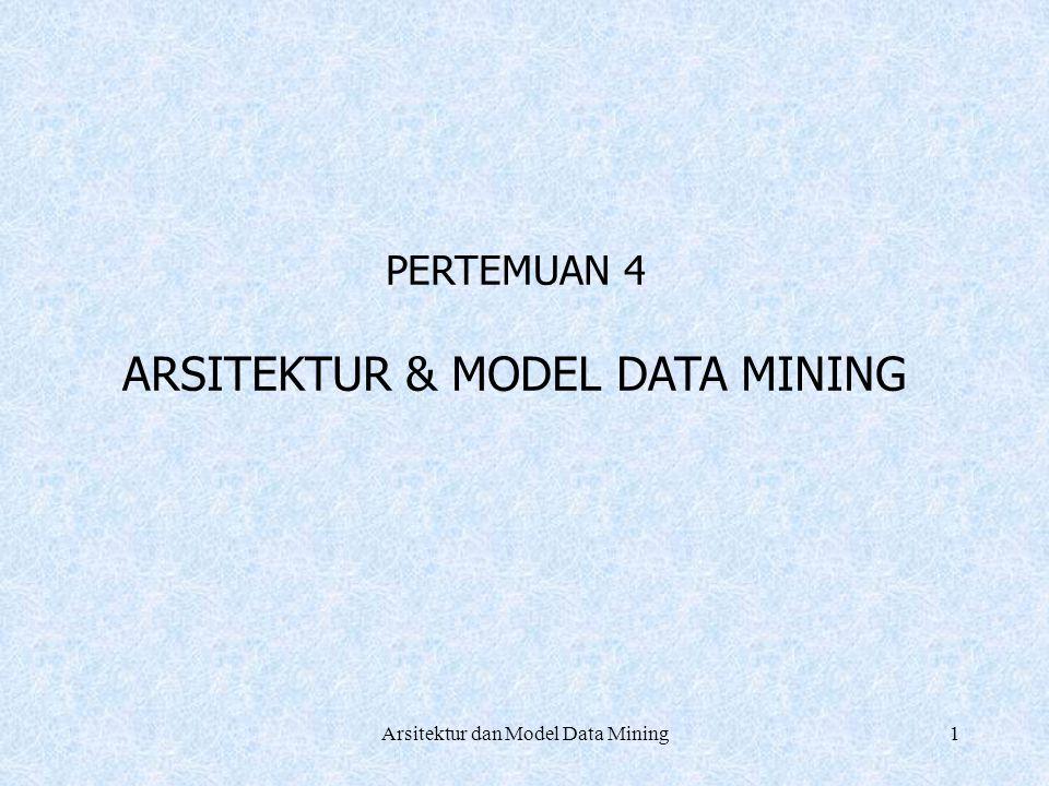 2 Arsitektur : Sistem Data Mining Graphical User Interface (GUI) Pattern evaluation Data Mining Engine Knowledge-base Database or data warehouse server Data clening & data integration Data base Filtering Data warehouse Arsitektur dan Model Data Mining