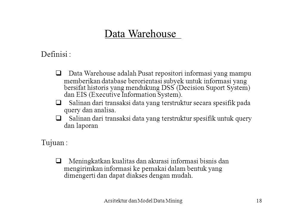 18 Data Warehouse Definisi :  Data Warehouse adalah Pusat repositori informasi yang mampu memberikan database berorientasi subyek untuk informasi ya