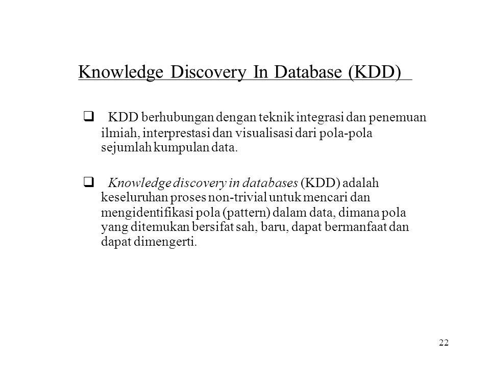 22 Knowledge Discovery In Database (KDD)  KDD berhubungan dengan teknik integrasi dan penemuan ilmiah, interprestasi dan visualisasi dari pola-pola