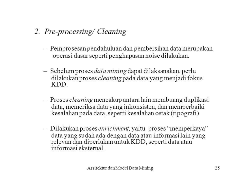 25 2. Pre-processing/ Cleaning – Pemprosesan pendahuluan dan pembersihan data merupakan operasi dasar seperti penghapusan noise dilakukan. – Sebelum p