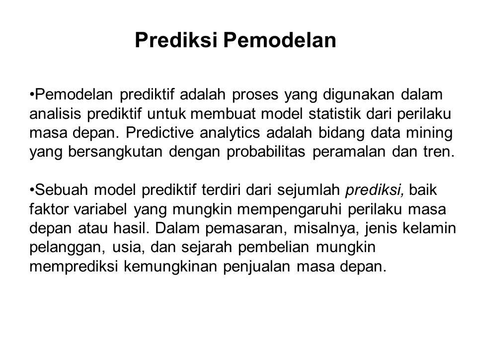 Pada pemodelan prediktif, data dikumpulkan untuk prediktor yang relevan, model statistik dirumuskan, prediksi yang dibuat dan model divalidasi (atau revisi) sebagai data tambahan telah tersedia.