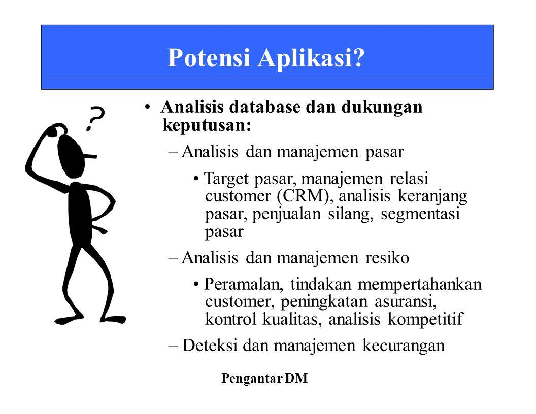 Potensi Aplikasi? Analisis database dan dukungan keputusan: – Analisis dan manajemen pasar Target pasar, manajemen relasi customer (CRM), analisis ker