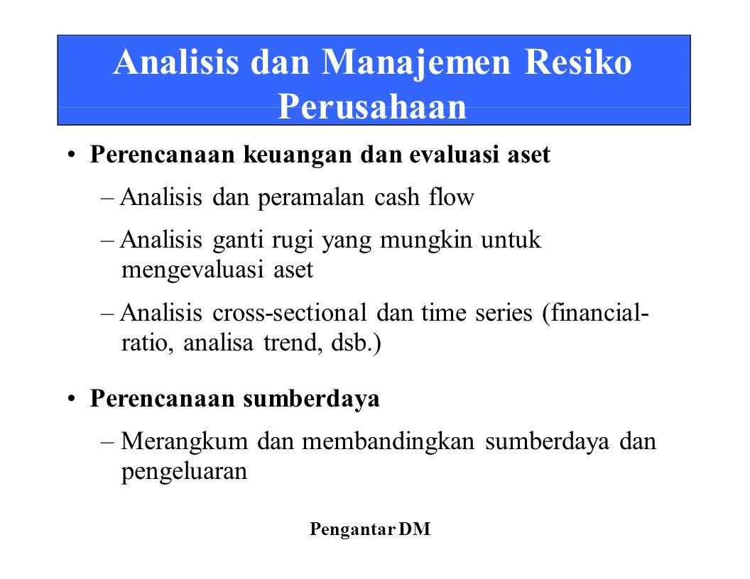 Analisis dan Manajemen Resiko Perusahaan Perencanaan keuangan dan evaluasi aset – Analisis dan peramalan cash flow – Analisis ganti rugi yang mungkin