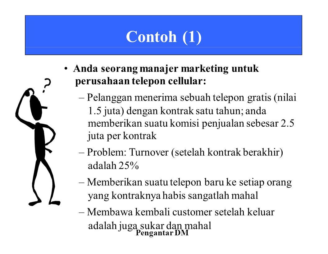 Contoh (1) Anda seorang manajer marketing untuk perusahaan telepon cellular: – Pelanggan menerima sebuah telepon gratis (nilai 1.5 juta) dengan kontra