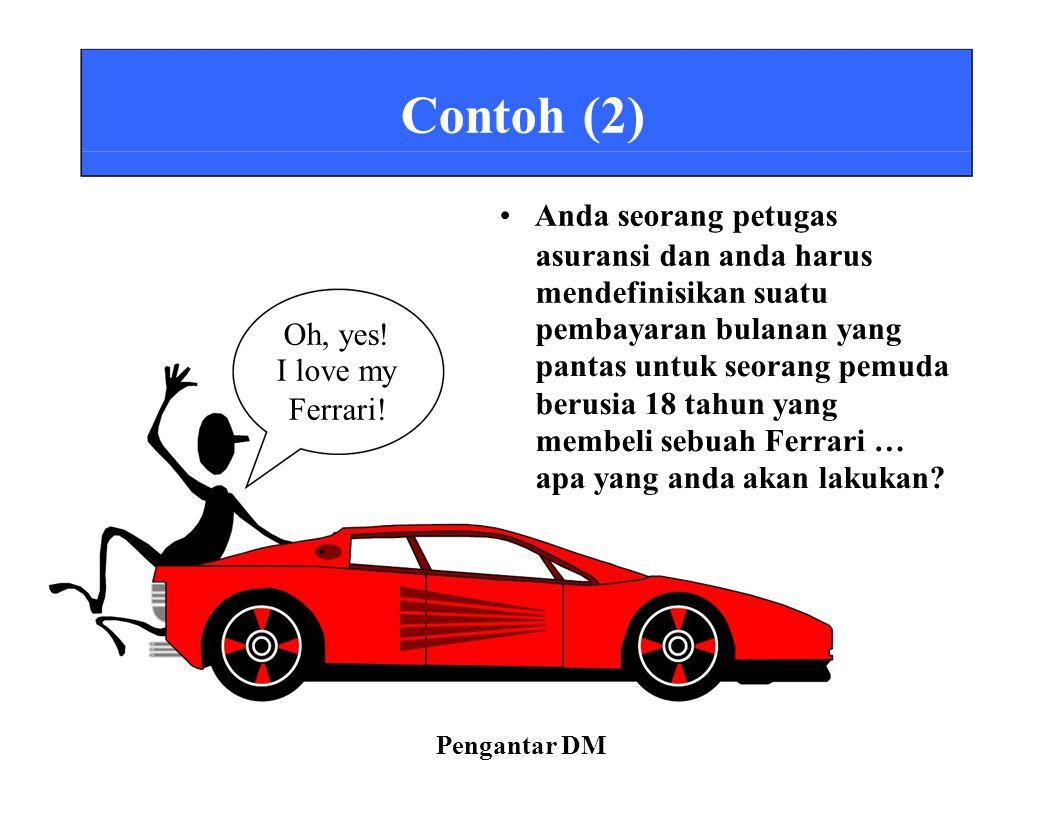 Contoh (2) Anda seorang petugas asuransi dan anda harus mendefinisikan suatu Oh, yes! I love my Ferrari! pembayaran bulanan yang pantas untuk seorang