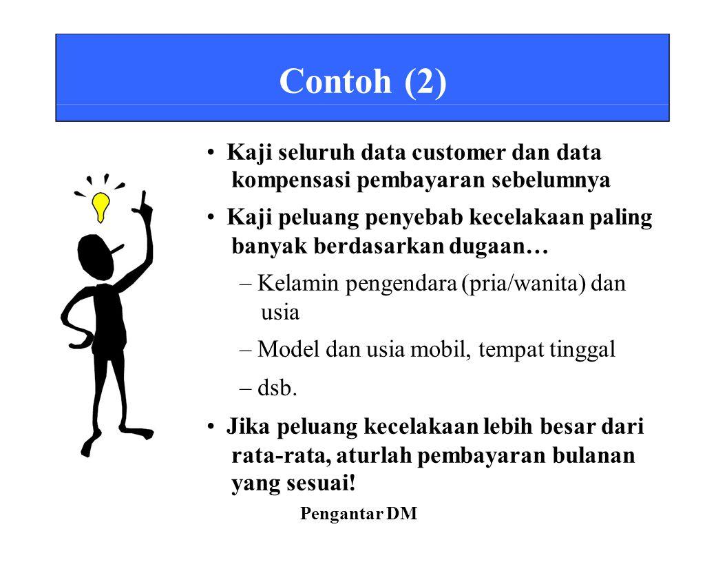 Contoh (2) Kaji seluruh data customer dan data kompensasi pembayaran sebelumnya Kaji peluang penyebab kecelakaan paling banyak berdasarkan dugaan… – K