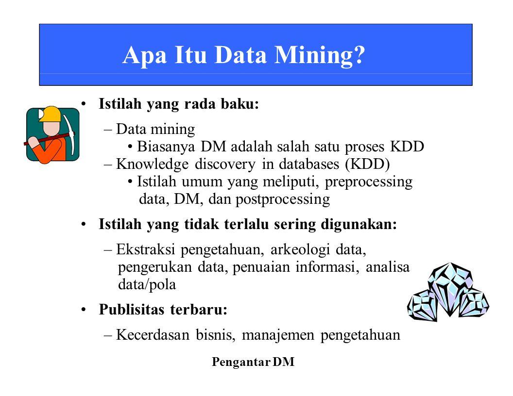 Apa Itu Data Mining? Istilah yang rada baku: – Data mining Biasanya DM adalah salah satu proses KDD – Knowledge discovery in databases (KDD) Istilah u