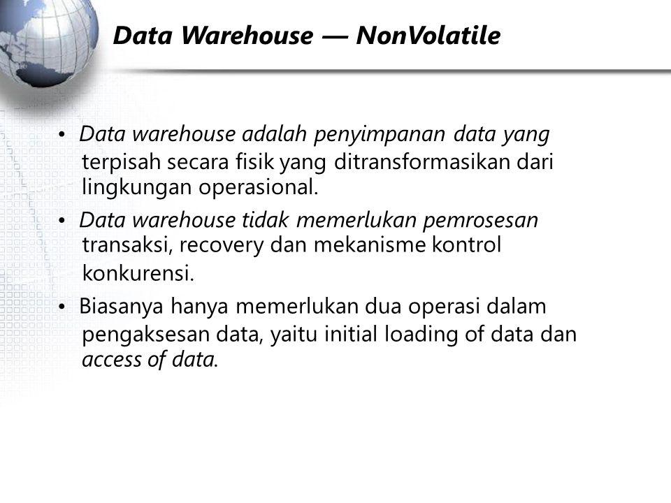 Data Warehouse — NonVolatile Data warehouse adalah penyimpanan data yang terpisah secara fisik yang ditransformasikan dari lingkungan operasional.