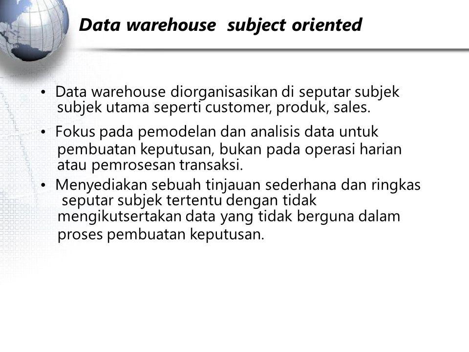 Subjek Aplikasi Data warehouse  subject oriented