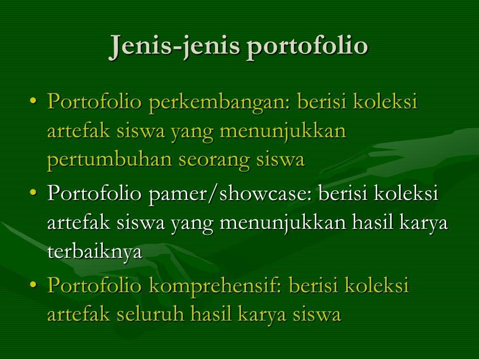 Jenis-jenis portofolio Portofolio perkembangan: berisi koleksi artefak siswa yang menunjukkan pertumbuhan seorang siswaPortofolio perkembangan: berisi koleksi artefak siswa yang menunjukkan pertumbuhan seorang siswa Portofolio pamer/showcase: berisi koleksi artefak siswa yang menunjukkan hasil karya terbaiknyaPortofolio pamer/showcase: berisi koleksi artefak siswa yang menunjukkan hasil karya terbaiknya Portofolio komprehensif: berisi koleksi artefak seluruh hasil karya siswaPortofolio komprehensif: berisi koleksi artefak seluruh hasil karya siswa